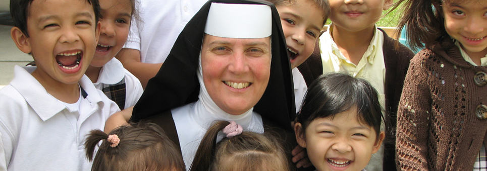 Carmelite Sister with Students