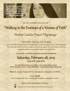 2015 Mother Luisita  Pilgrimage Flier