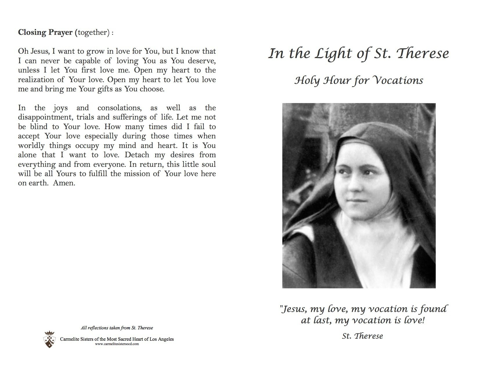 Prayers for Vocations | Carmelite Sisters of the Most Sacred Heart